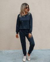 Pantaloni a due pezzi in tinta unita autunno Set Lounge Wear