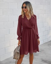 Autumn Dot Long Sleeve Wrapped Casual Dress