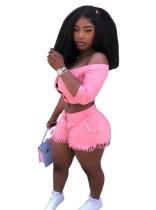 Сексуальный комплект с укороченным топом с открытыми плечами и шортами с кисточками