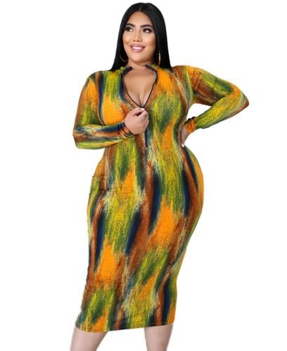Robe mi-longue à manches longues tie-dye grande taille