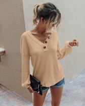 Camisa de punto con cuello en V liso de otoño