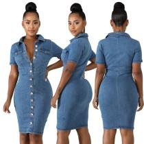Vestido azul vaquero con botones y mangas cortas