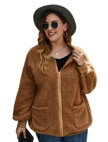 Plus size fleece jas met rits