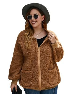 Manteau en molleton zippé grande taille