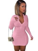 Sexy einfaches, langärmliges, figurbetontes Kleid mit Reißverschluss