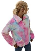 Tie Dye Pocket pluche pullover top