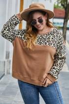 Plus grootte O Neck Leopard pluche shirt
