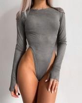 Body liso de corte alto sexy con mangas completas