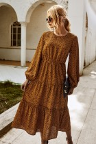 Herbst Langarm Square Dot Long Kleid