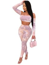 Tie Dye Sexy Crop Top und High Waist Pants Set