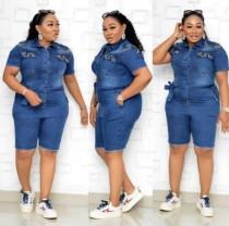 Mamelucos de mezclilla azul africano de talla grande