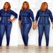 Set di blue jeans africane a due pezzi taglie forti