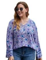 Camisa retro floral con cuello en V y talla grande