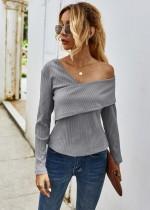 Autumn Irregular Knitted Plain Shirt