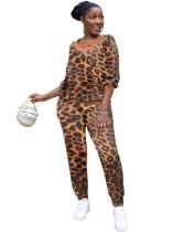 Conjunto casual de pantalones de leopardo de dos piezas africanos