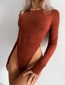 Сексуальное однотонное боди с высоким вырезом и длинными рукавами