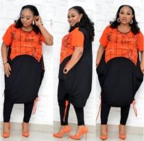 Conjunto de pantalones de dos piezas con estampado africano de talla grande