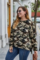 Camicia Plus Size O Collo Camou con spacchi laterali