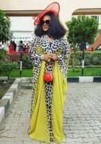 Vestido largo musulmán con estampado de leopardo