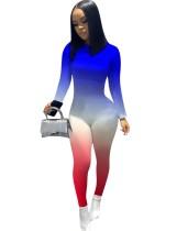 Sexy Gradient Langarm Bodycon Jumpsuit