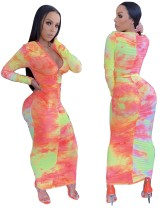 Tie Dye Ruched Long Curvy Dress with Full Sleeves