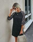 ヒョウ袖のオータムオーネックシャツドレス