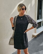 Autumn O Neck Shirt Kleid mit Leopardenärmeln