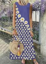 Vestido largo boho sin mangas con estampado de flores