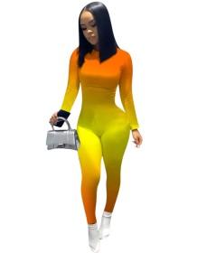 Sexy bodycon-jumpsuit met lange mouwen en kleurverloop
