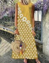Robe longue bohème sans manches à imprimé fleuri