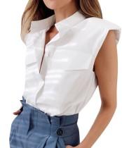 Blusa de bolsillo sin mangas en blanco puro