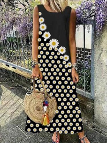 Çiçek Baskı Kolsuz Uzun Boho Elbise