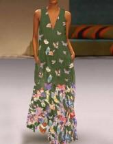 Vestido largo sin mangas con estampado de mariposas