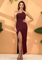 Einfarbiges trägerloses Schlitz-Abendkleid