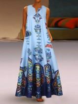 Длинное платье в стиле бохо без рукавов с ретро-принтом