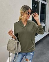 Chemise à capuche de couleur unie d'automne
