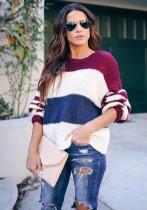 O Nackenkontrast Loose Pullover Pullover