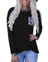 Camisa de bolsillo con cuello redondo y estampado de otoño con mangas completas