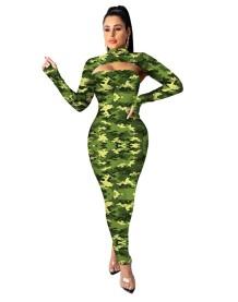 Сексуальное длинное пышное платье с вырезом и длинными рукавами с принтом