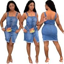 Denim Blue Button Up Strap Bodycon Kleid