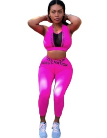 Sports Fitness Print Crop Top and Legging Set