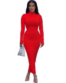 Tam Kollu Batik Seksi Uzun Kıvrımlı Elbise