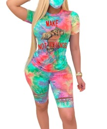 Summer Tie Dye Two Piece Biker Short Set