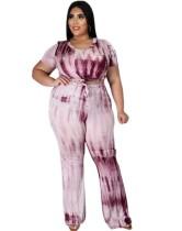 Conjunto de pantalones a juego de dos piezas con efecto tie dye de talla grande