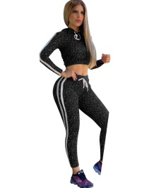 Sports Print Crop Top and Pants Tracksuit