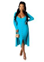 Einfarbiges zweiteiliges Kleid mit passenden Strickjacken