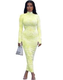 Сексуальное длинное пышное платье с принтом тай-дай и длинными рукавами