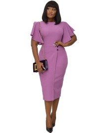 Solid Color Mature Midi Dress with Wide Cuffs