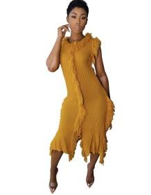 Autumn Knitted Fringe Sleeveless Sweater Dress