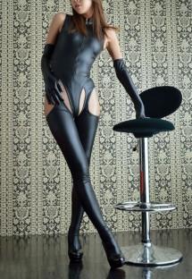 Set di lingerie sexy 4 pezzi in pelle nera